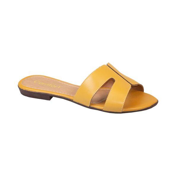 Sandalia-Rasteira-Aberta-Comfort-Amarela-Tamanho--38---Cor--CASTANHO-0