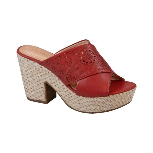 Tamanco-Espadrille-com-Cabedal-Flores-Laser-Comfort-Vermelho-Tamanho--33---Cor--TELHA-0