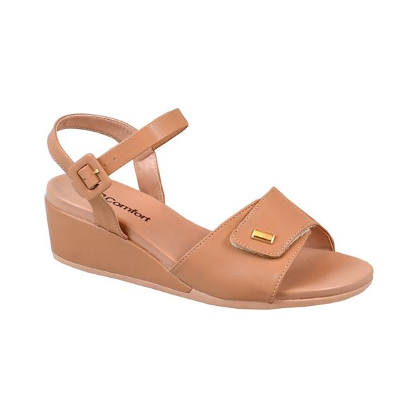 Sandalia-Anabela-com-Velcro-Comfort-Antique-Tamanho--34---Cor--AMENDOA-0