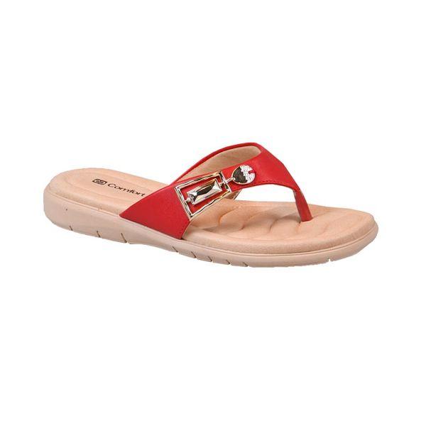Sandalia-Rasteira-com-Fivela-Comfort-Vermelha-Tamanho--34---Cor--VERMELHO-0