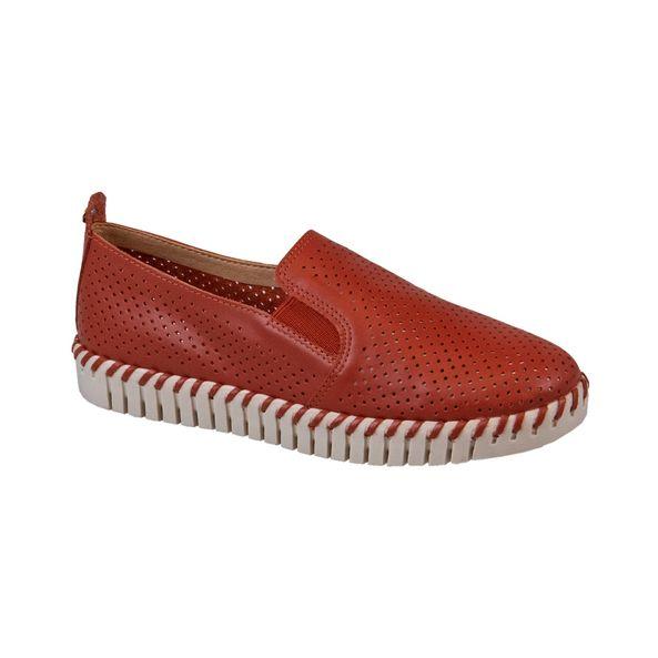 Sapato-Slip-On-em-Couro-Texturizado-Comfort-Vermelho-Tamanho--36---Cor--TERRA-COTA-0