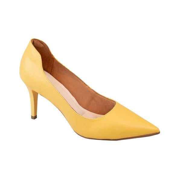 Scarpin-com-Curvatura-e-Salto-Fino-Comfort-Amarelo-Tamanho--35---Cor--CAMOMILA-0